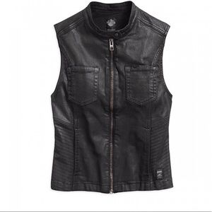 Harley Ladies Black Coated Denim Biker Vest